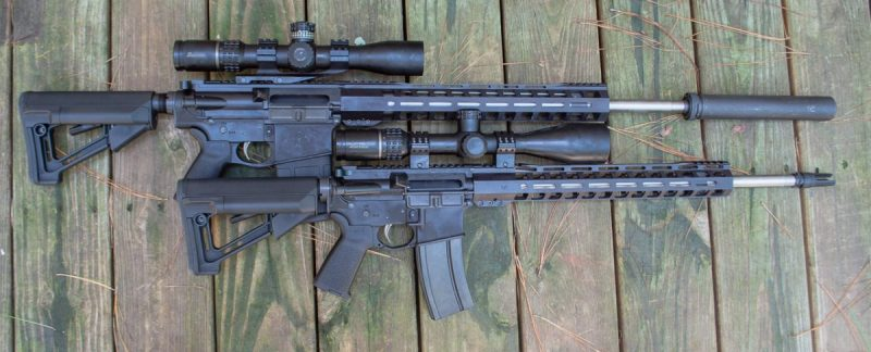 The new Palmetto State Armory .224 Valkyrie (bottom) and PA-65 6.5m Creedmoor (top) rifles.