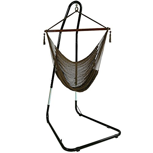 hammock chair stand adjustable upholstered counter height chairs sunnydaze 40 hanging caribbean xl with mocha 300 lbs