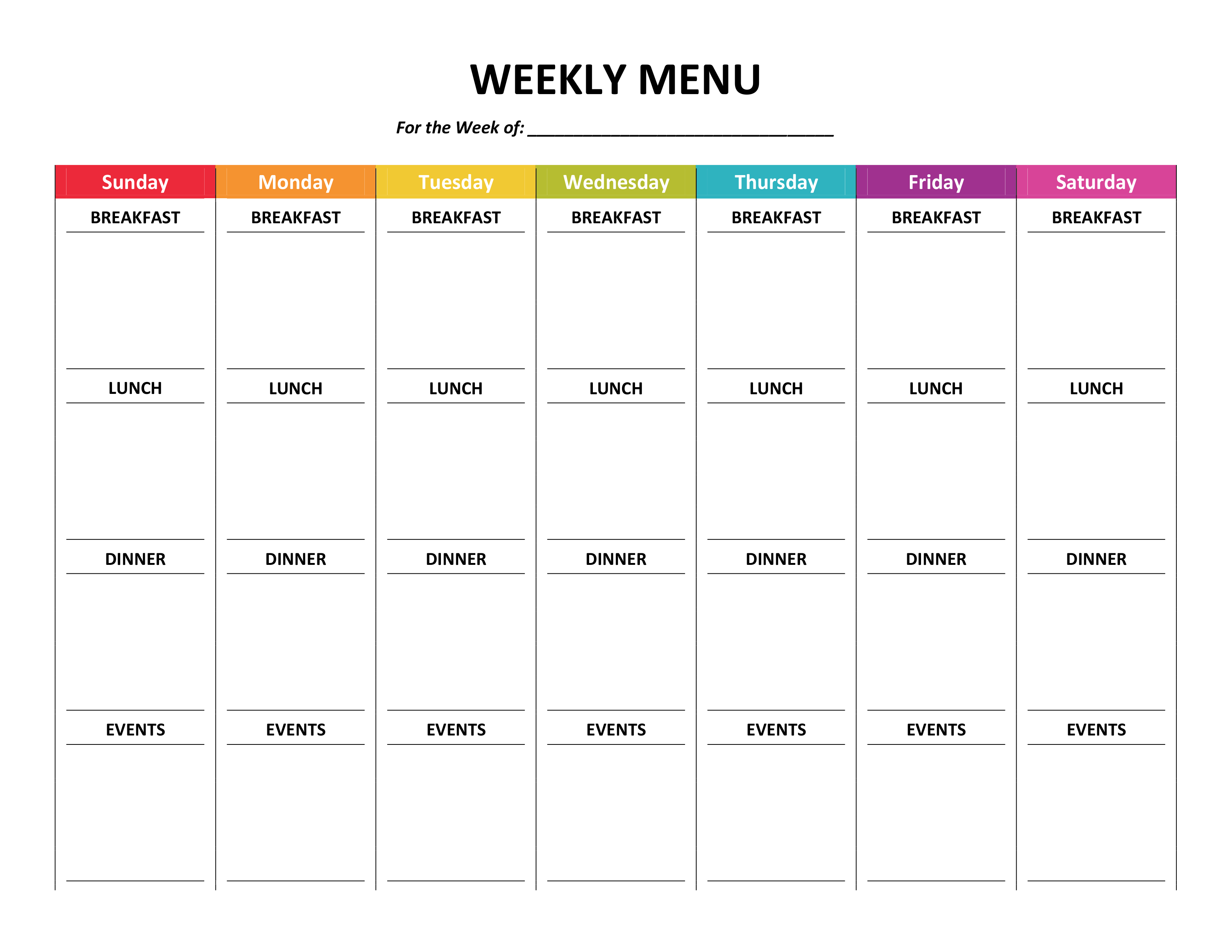 Weekly Meal Plan For The Family Printable