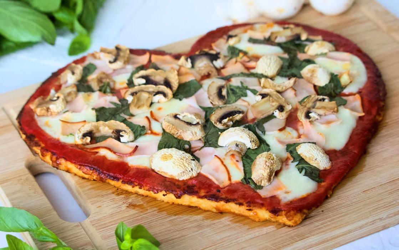 Cauliflower Pizza Crust Heart Front