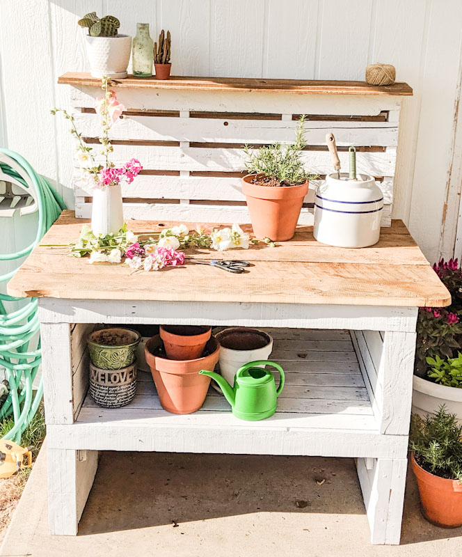 Fine Diy Pallet Potting Bench My Happy Simple Living Pabps2019 Chair Design Images Pabps2019Com