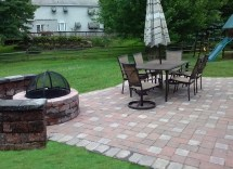 Pavers Patio And Walkway With Fire Pit Sitting Wall