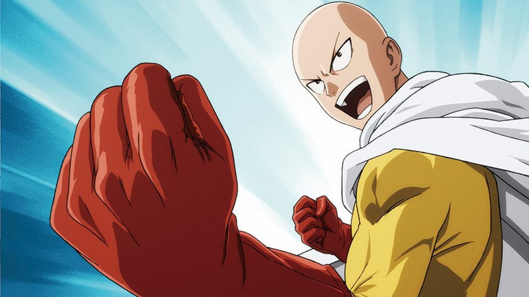 one punch man saitama excited face with fist
