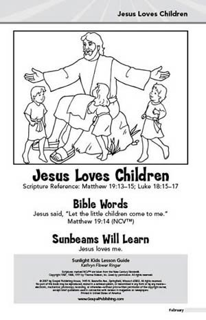 Sunlight Kids Lesson Book: Jesus Loves Children (February