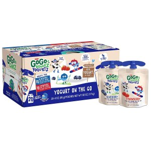 GoGo squeeZ YogurtZ, Variety Pack (Blueberry/Strawberry), 3 Ounce (20 Pouches), Low Fat Yogurt, Gluten Free, Reusable, BPA Free Pouches