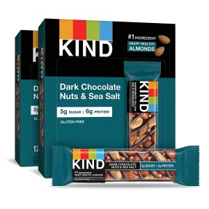 KIND Bars, Dark Chocolate Nuts & Sea Salt, Gluten Free, 1.4 Ounce Bars, 24 Count