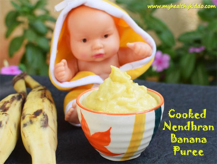 Boiled Nendran banana puree for babies 2
