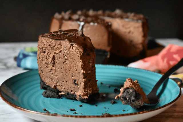 chocolate cheesecake on blue plate