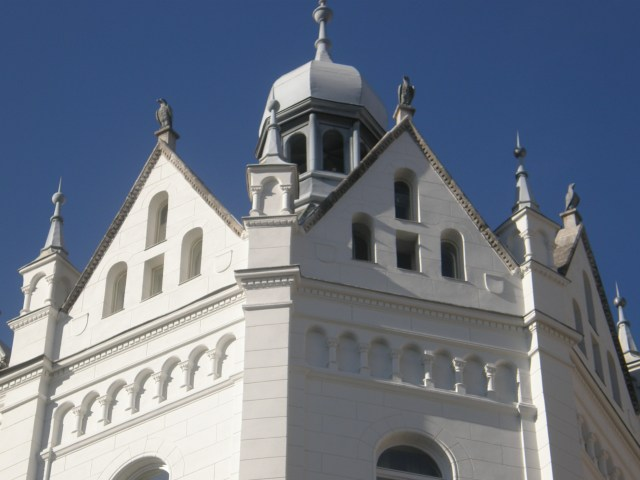 Gleaming white turrets of the old town