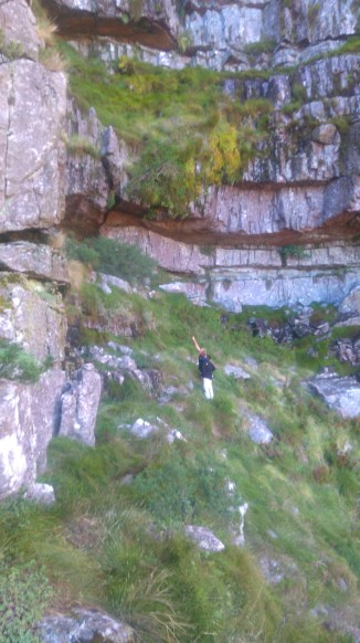 John pointing out the 30m climb