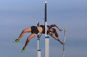 Papillion-La Vista South senior Lizzy Stanton ties season's best mark in the pole vault photo.