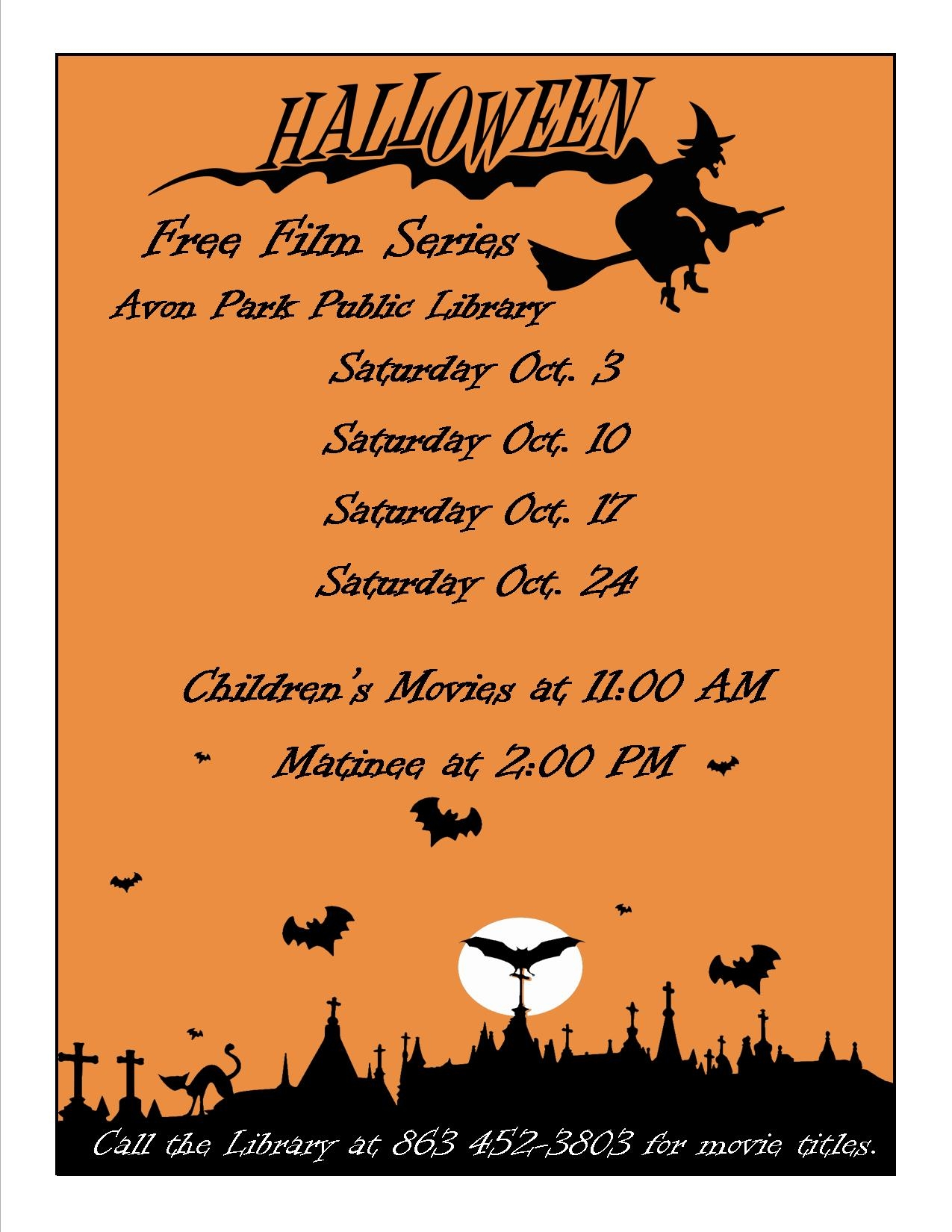 Halloween Free Film Series — Avon Park Library - Heartland