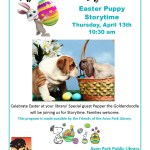 Easter Puppy Storytime Thursday, April 13th 10:30 am