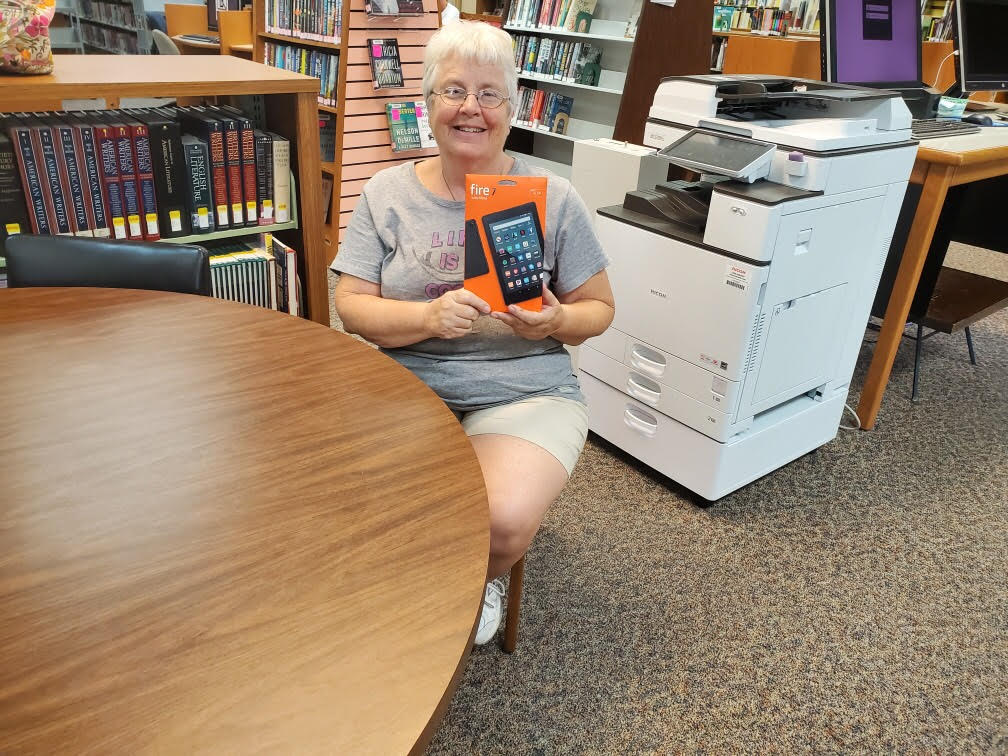 The November winner of the Kindle Fire 7 with Alexa, is Judy Glam one of our Sebring patrons. Remember for a chance to win, for each book checked out at the Glades Library you get a ticket to enter. Our next drawing will be December 27.