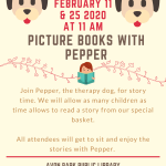 Pepper returns tomorrow at the Avon Park Public Library for Picture books with Pepper, trained therapy dog. Program will begin at 11:00 AM on Tuesday, February 11 and again on Tuesday, February 25, 2020. We can't wait to see you there!