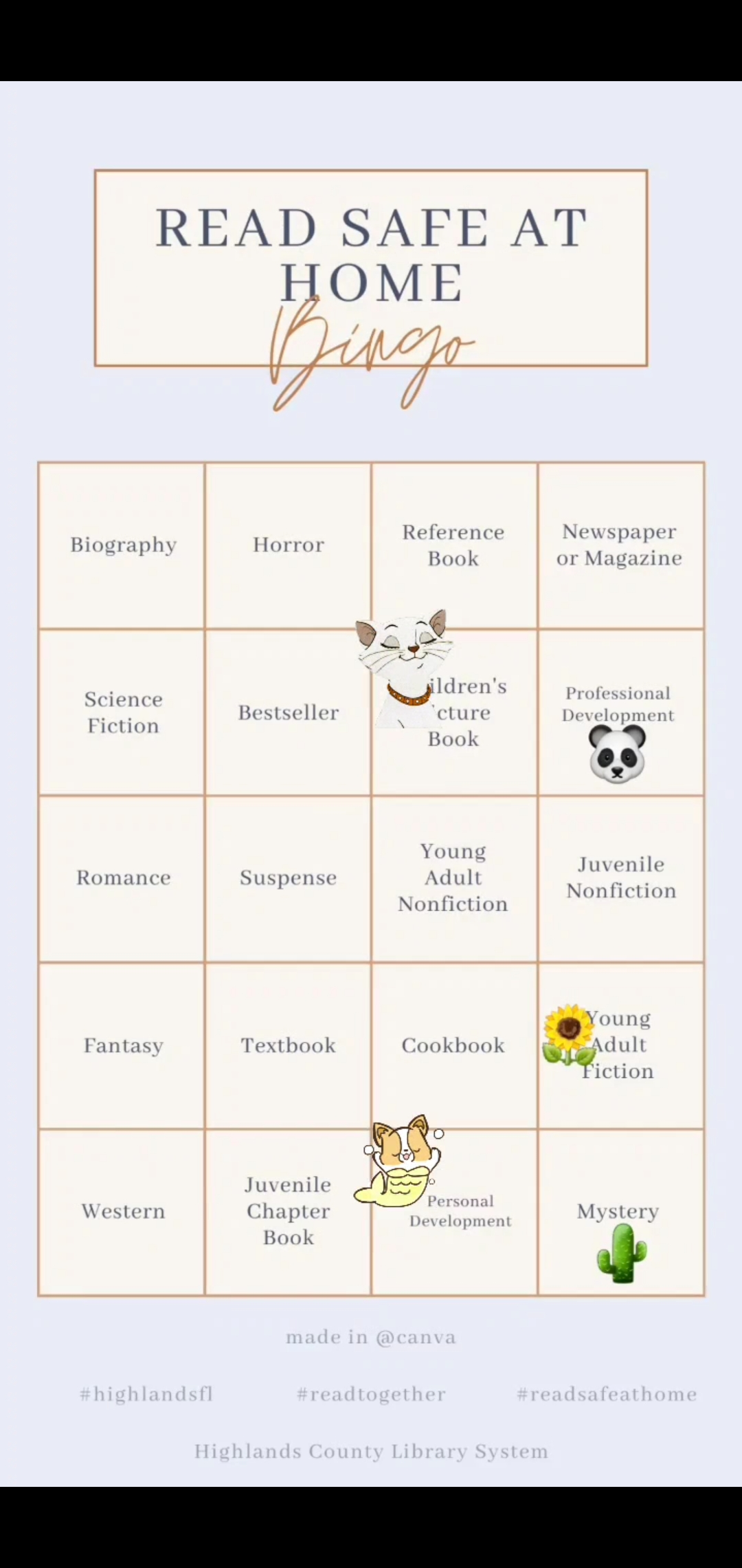Let's play bingo! Here's a fun way to share with friends and family what you have been reading. Take a screenshot of the blank bingo card and I add your own emojis or gifs. Our Highlands Library System Manager, Vikki, has shared a bingo card with what she has been reading in her free time. Share & have fun! Tag your bingo cards as #highlandsfl #readhighlandsfl #librarybingo