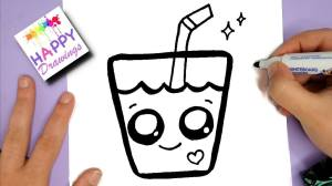 draw kawaii happy drink drawings easy dibujos faciles step candy myhobbyclass