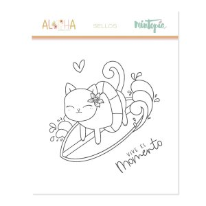 Aloha - Mintopia Studio - Basic Crea - My Hobby My Art - coleccion Aloha - sello gatito surfeando