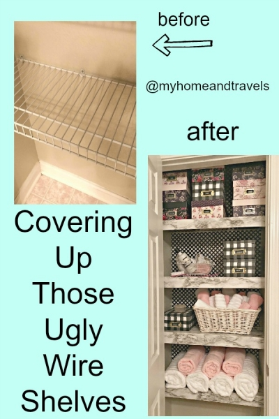 covering up those ugly wire shelves