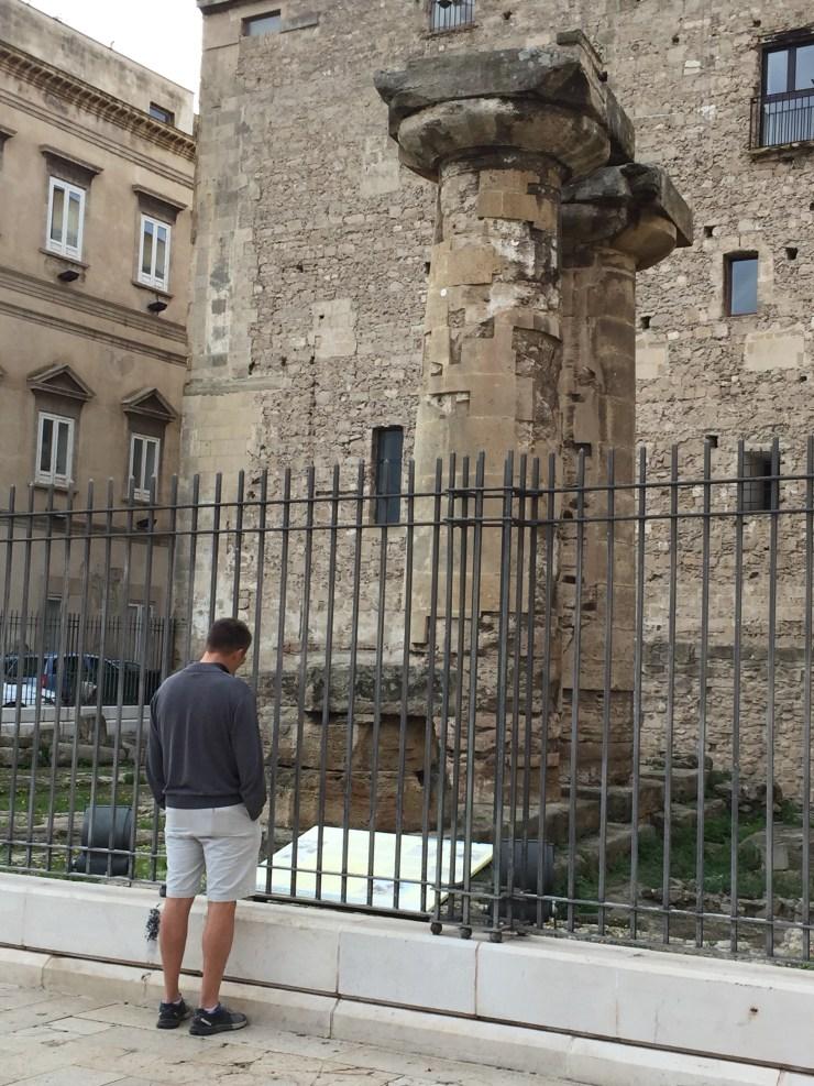 Roman era pillars in Taranto Citta Vecchio