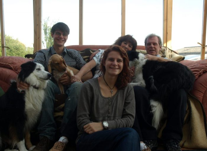 photo of the family and the dogs