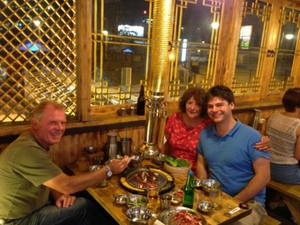 The family eating Korean food