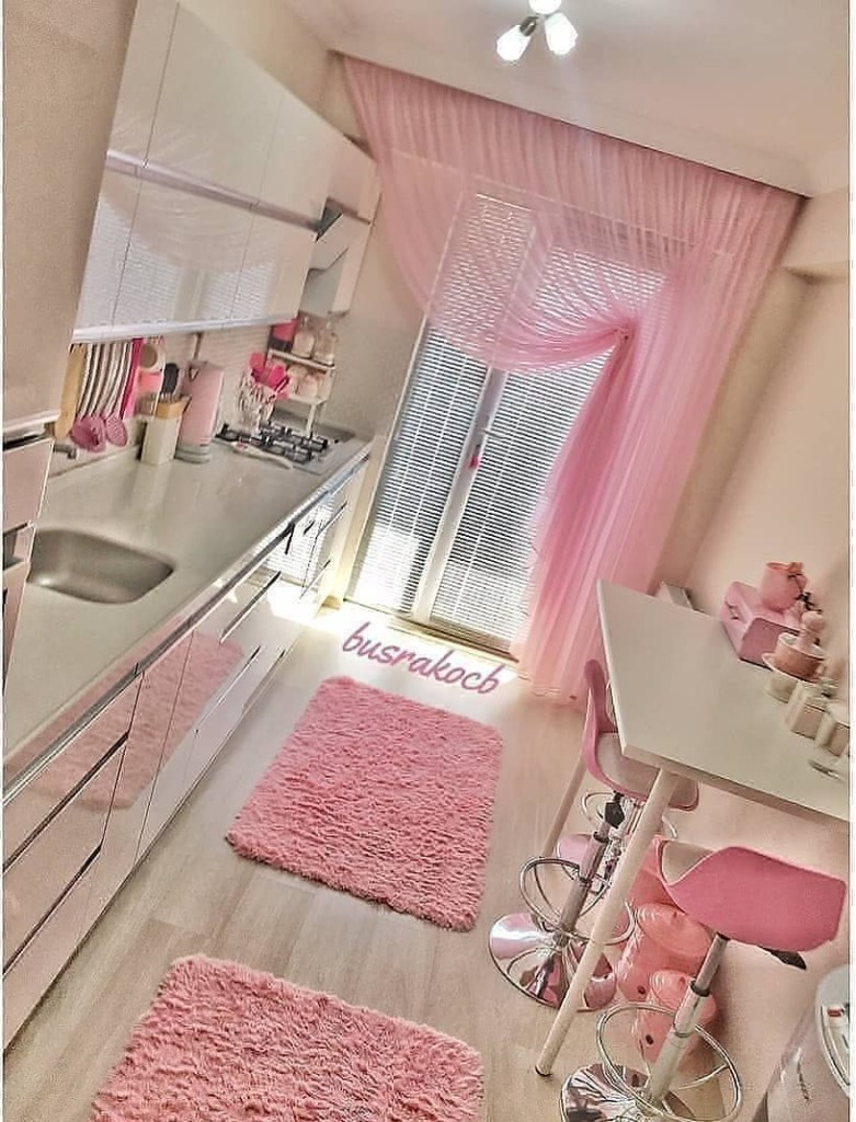 kitchen example with rose color and lighting