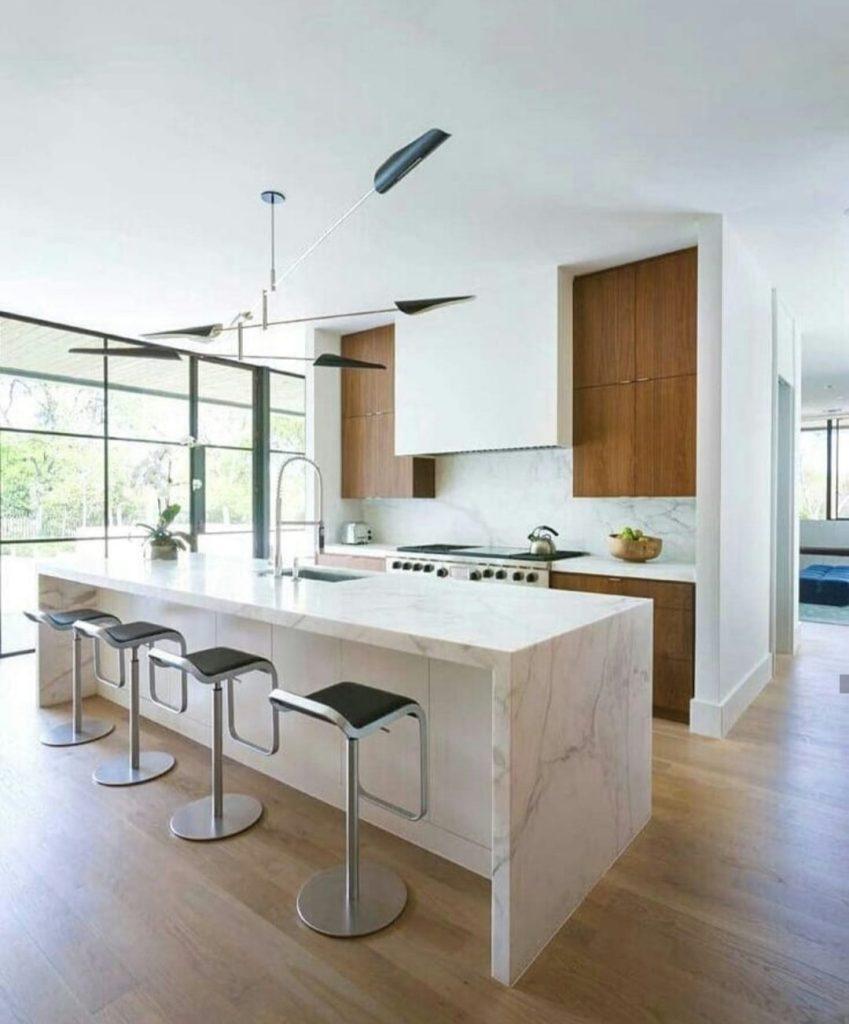 Farmhouse kitchen with wood floor