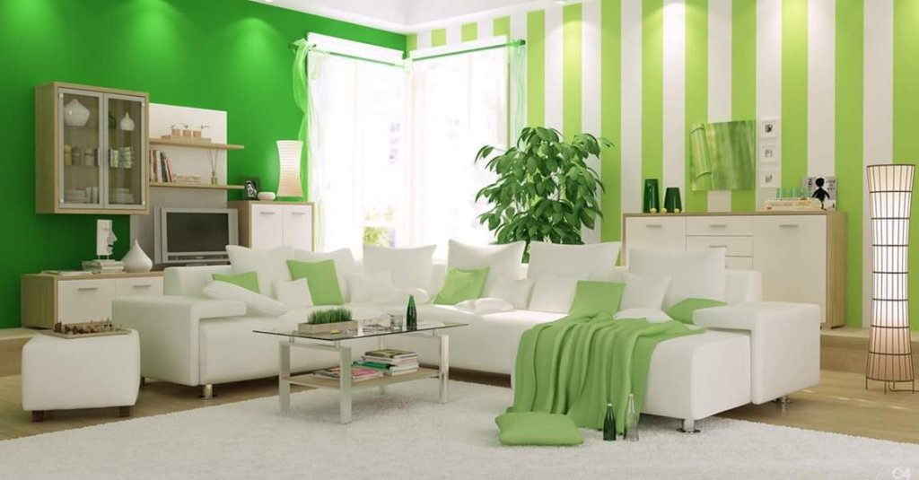 Apple green living room design