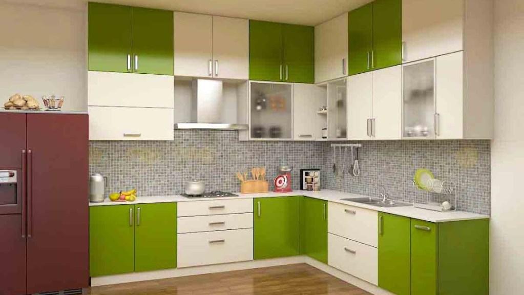 Modular green and white kitchen design