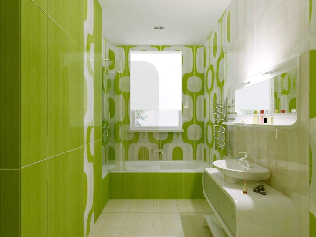 Interior green decor idea for home bathroom