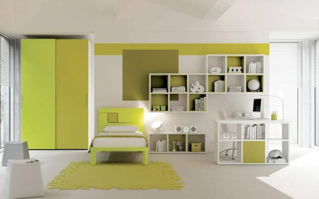 Lime green home interior decor idea