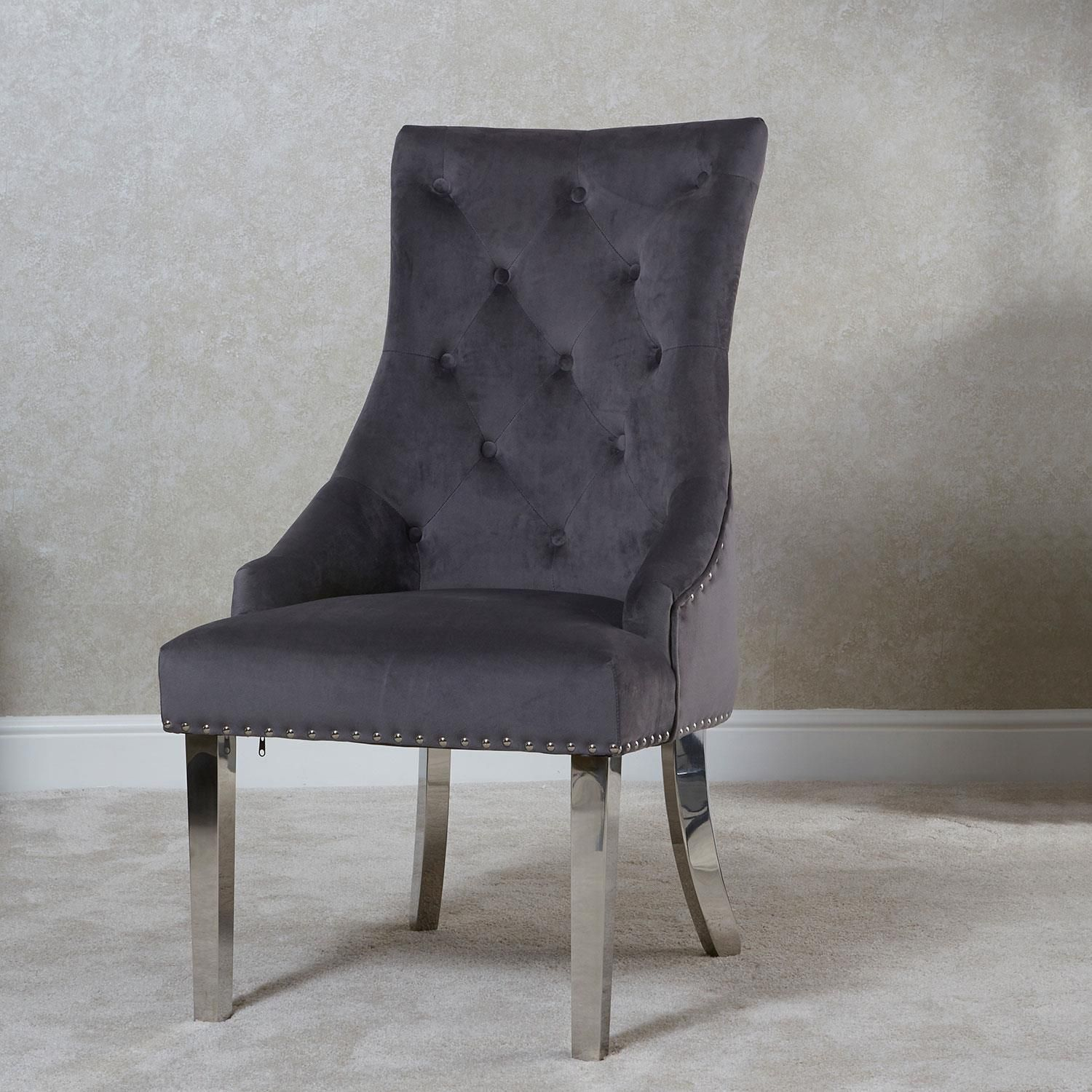 My Home 24 Megan Knocker Back Dining Chair Grey | Chair Collection | My Home Rock