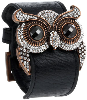 Leather Cuff Bracelet with Crystal Owl Charm, Adjustable Wristband with Metal Alloy Buckle