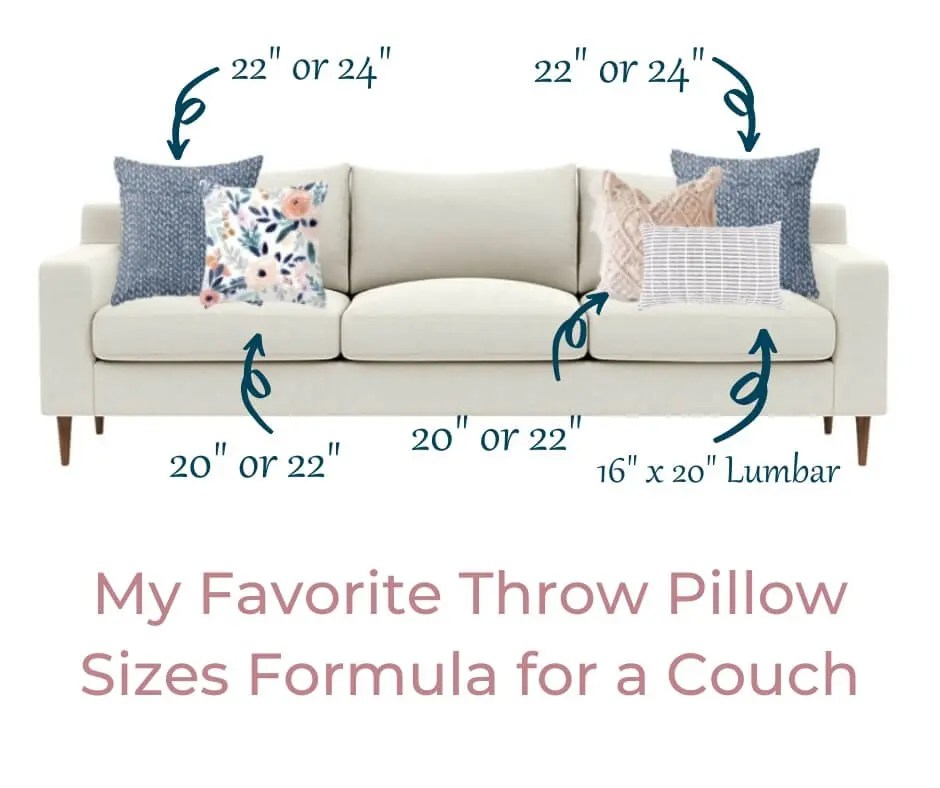 couch throw pillow sizes