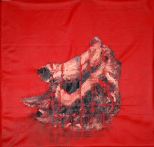 A painting by Dr.Raj Kumar Mazinder Red Rhino IV, acrylic on canvas, 21X38 Inches, 2012