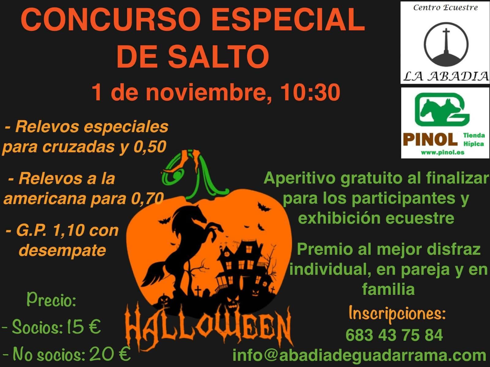 cartel del concurso especial de halloween del centro ecuestre la adabía