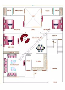 south facing house plan with car parking
