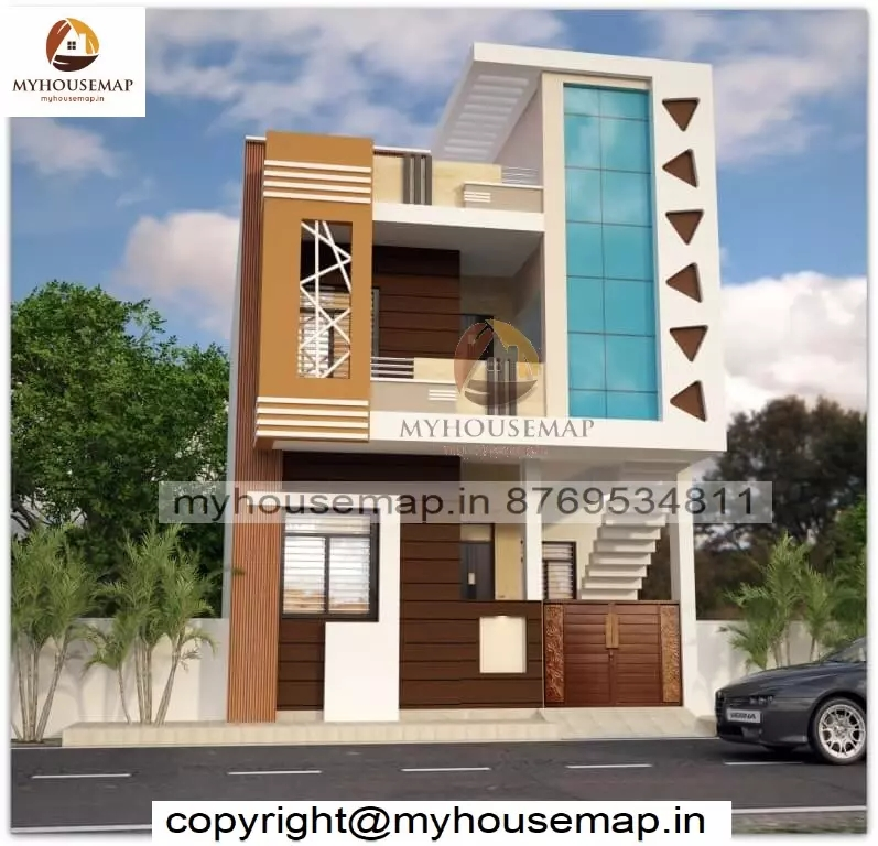 Exterior Front Staircase Elevation Design With Parking | Front Staircase Design Home | House Plan | Porch Gallery | House Kerala | Outdoor | Ghar