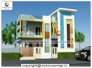3d front elevation first floor design