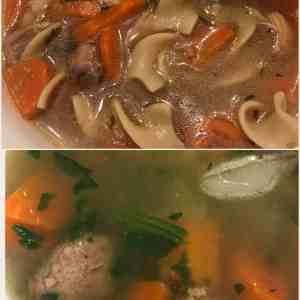 Chicken Soup [top], Italian Wedding Soup [bottom]