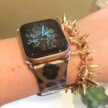 Leopard Leather Strap for Apple Watch with Stella & Dot bracelet