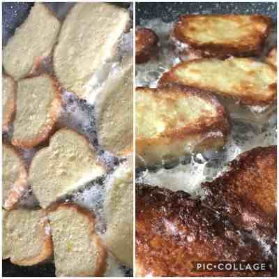 Savoury French Toast Cooking