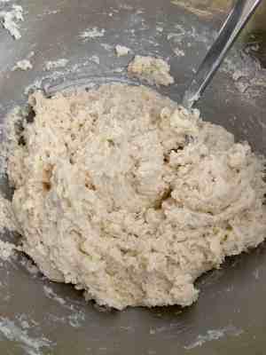Mix scone dough gently