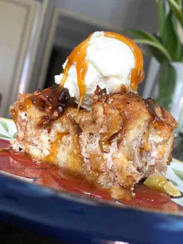 Bread Pudding with Vanilla Ice Cream & Carmel Sauce