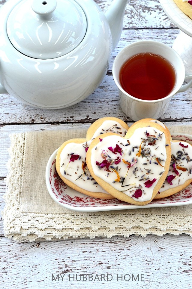 Edible Flower Valentine Cookie frosted cookies in vintage plate