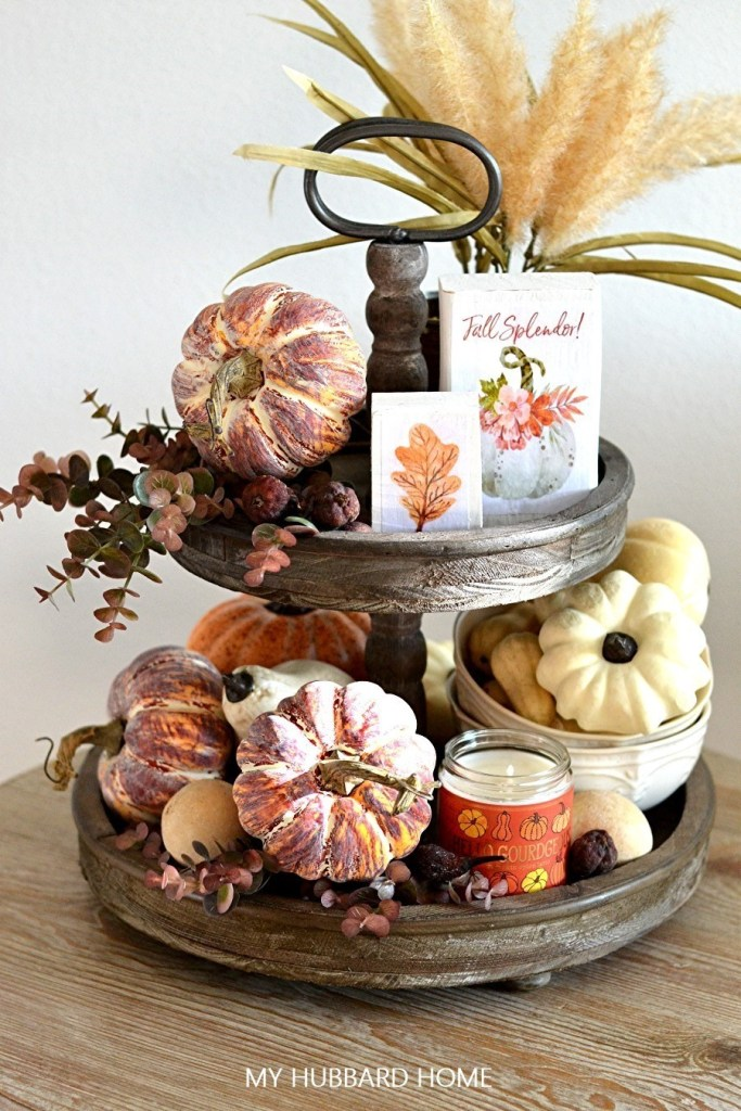 7 Fall Tiered Tray Tips 2 tiered tray with pretty orange pumpkins gourdes fall candle and fall DIY blocks