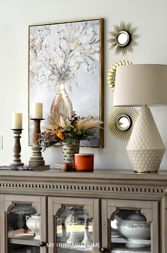 Fall Home Tour 2021. Living room, fall decorated counter