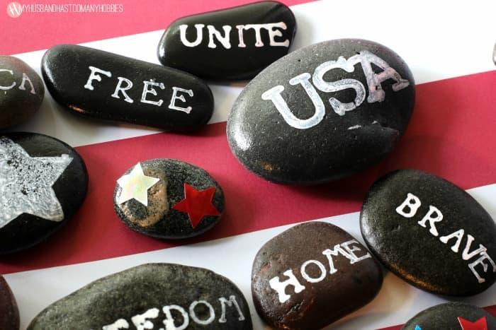 Patriotic Stamped Rocks