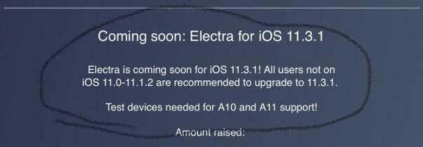 Electra jailbreak for iOS 11.3.1 coming soon